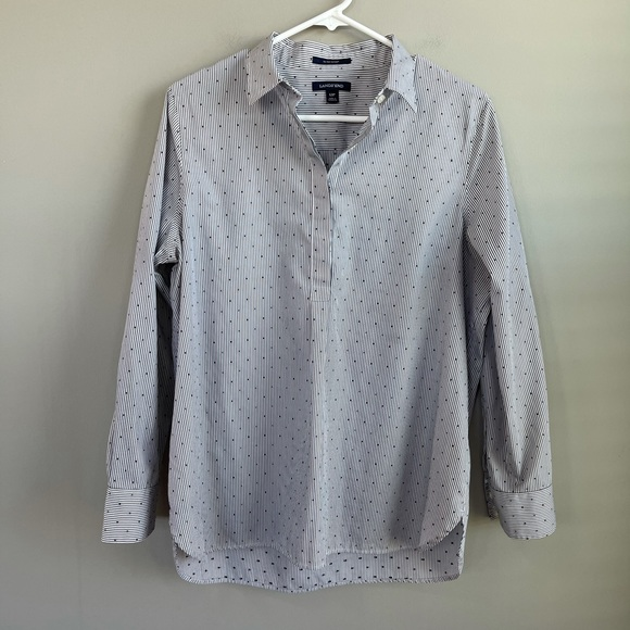 Land's End 3/4 Button Down Collared Shirt 12P